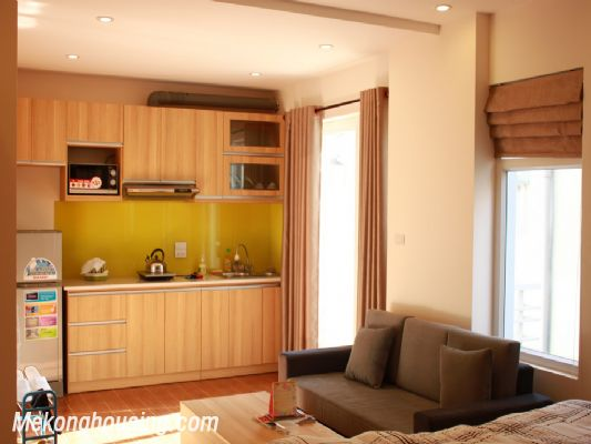 Beautiful studio apartment for rent at good price in Au Co street, Tay Ho, Hanoi 1