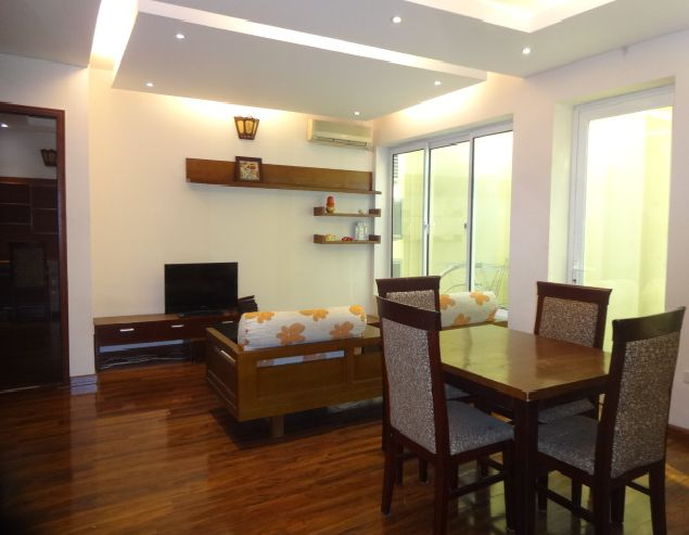 Bight serviced apartment with 2 bedrooms for rent in Lac Long Quan street, Tay Ho