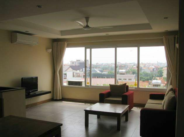 Bright serviced apartment with 2 bedrooms for rent in To Ngoc Van, Tay Ho, Hanoi