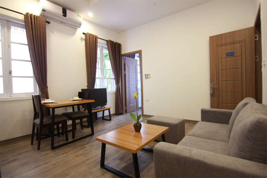 Charming serviced apartment with 1 bedroom for rent on To Ngoc Van street, Tay Ho district 3