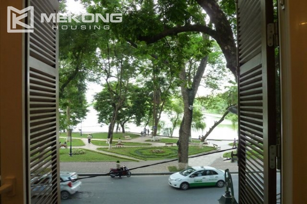 Lake front apartment with 2 bedrooms and 3 floors for rent at the center location of Hoan Kiem district 1
