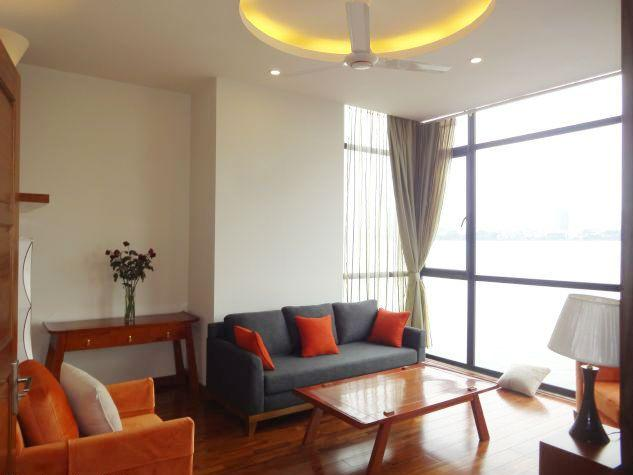 Lakeview apartment with 3 bedrooms for rent in Dang Thai Mai street, Tay Ho, Hanoi