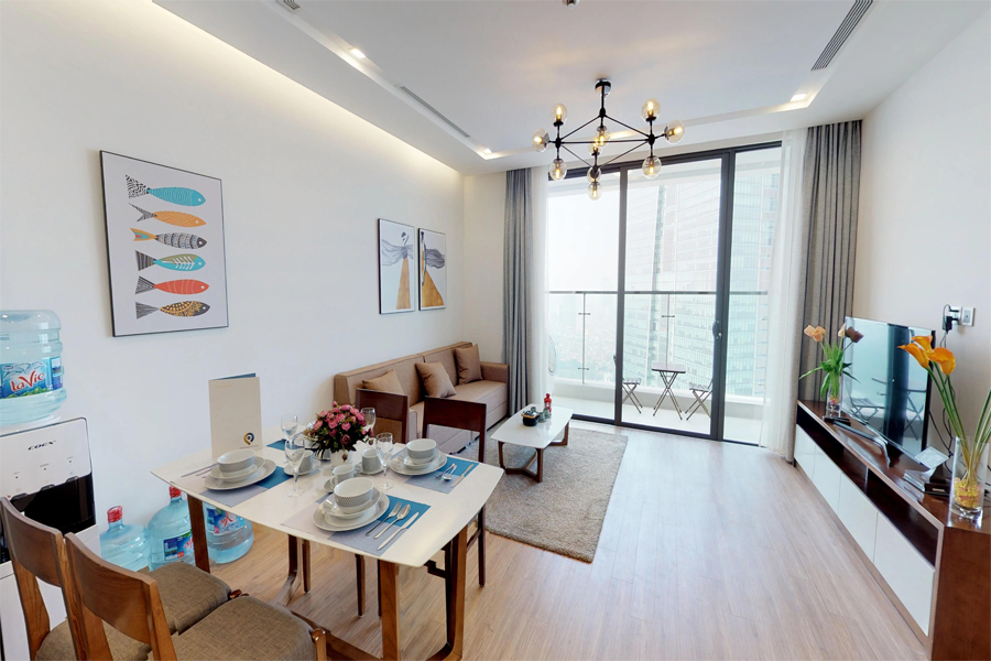 Modern design apartment with 2 bedrooms on high floor in Vinhomes Metropolis, Lieu Giai street