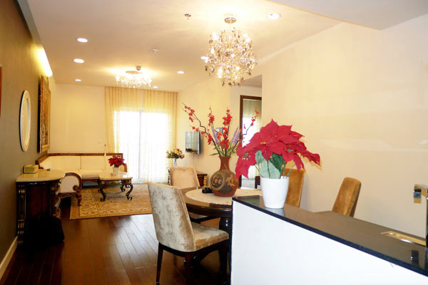Modern furnished apartment with 3 bedrooms on high floor for rent in Lancaster Hanoi, 20 Nui Truc