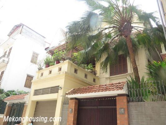 Modern villa with nice garden for rent in Van Bao street, Ba Dinh, Hanoi 1