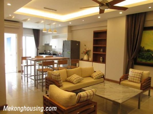 Nice serviced apartment with 3 bedrooms for rent in Vuon Dao building, 689 alley, Lac Long Quan street, Tay Ho district, Hanoi 1