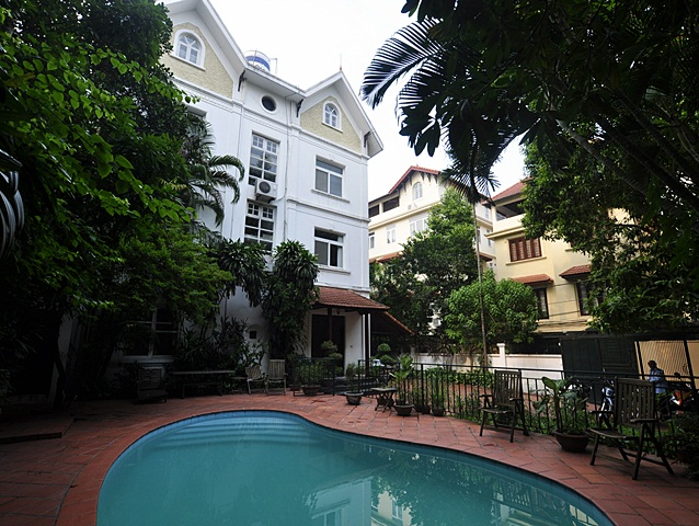 Spacious villa with outdoor swimming pool and large yard for rent in To Ngoc Van street