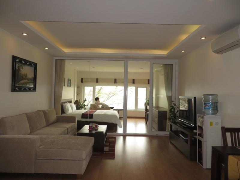 The fully furnished serviced apartment is for rent on Pham Huy Thong street, Ba Dinh district, Hanoi
